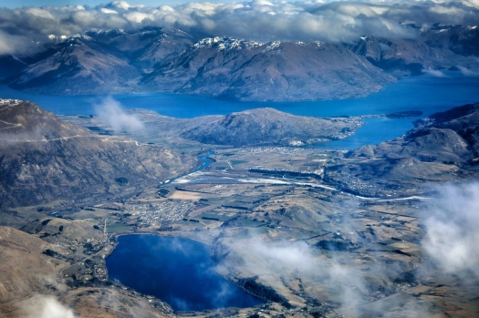 Queenstown and Wanaka from atmosphere