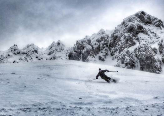It's quite complicated to skin up with fat skis, but the ride down is so much better photo: Urban Novak